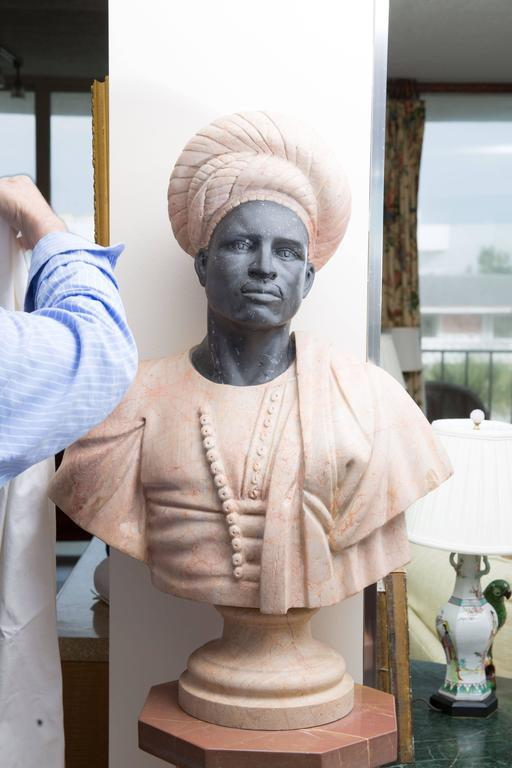 Italian Marble Bust of Moor For Sale