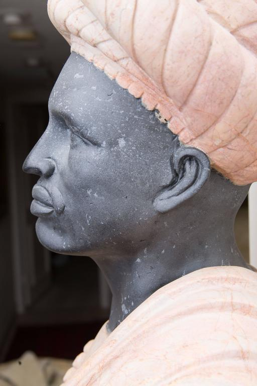 20th Century Marble Bust of Moor For Sale