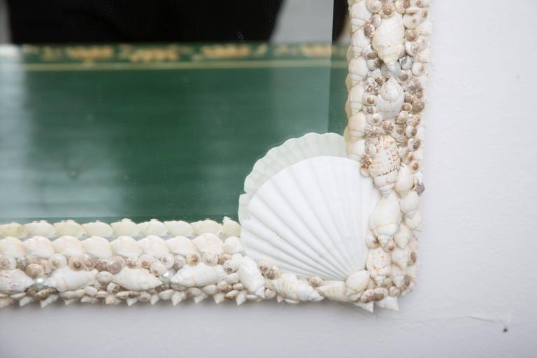 American Custom Mirror with Shell-Encrusted Frame For Sale