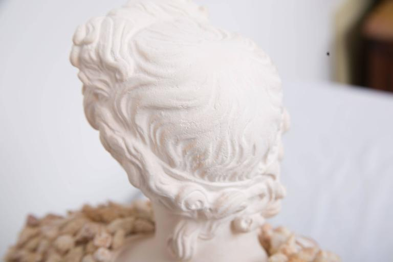This composition bust of a classical figure has been enhanced by the modern application of shells, circa 21st century.