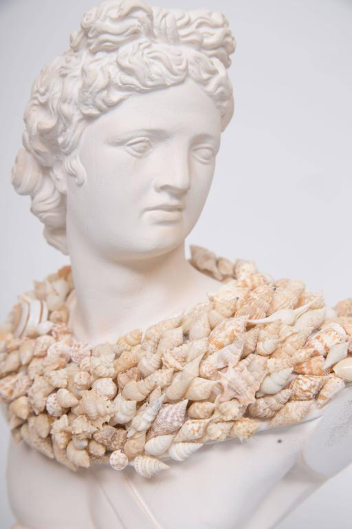 Shell Encrusted Composition Bust In Good Condition For Sale In WEST PALM BEACH, FL