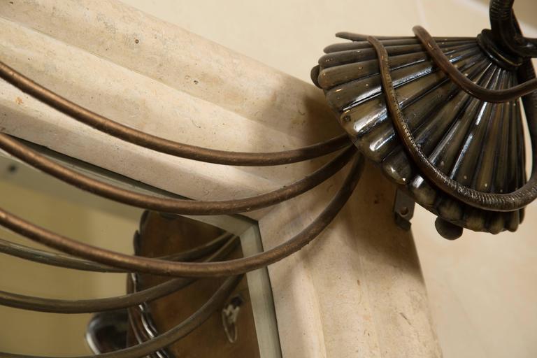20th Century Art Deco Mirror with Edgar Brandt Decoration For Sale