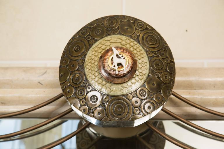 Bronze Art Deco Mirror with Edgar Brandt Decoration For Sale