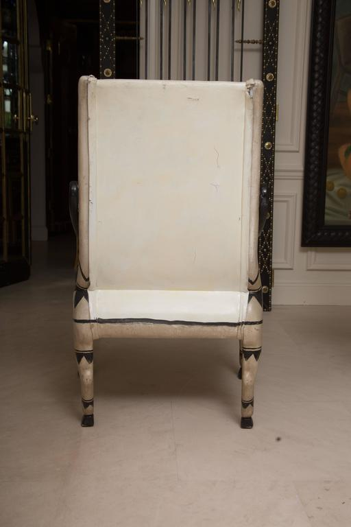 Egyptian Revival Early 20th Century Pair of Painted and Parcel Gilt  Bugatti Armchairs For Sale
