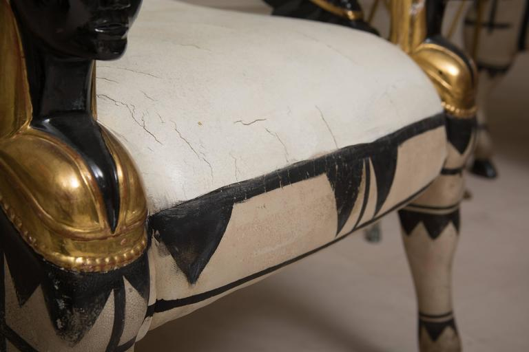 Italian Early 20th Century Pair of Painted and Parcel Gilt  Bugatti Armchairs For Sale