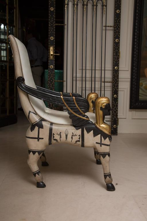 Early 20th Century Pair of Painted and Parcel Gilt  Bugatti Armchairs For Sale 1