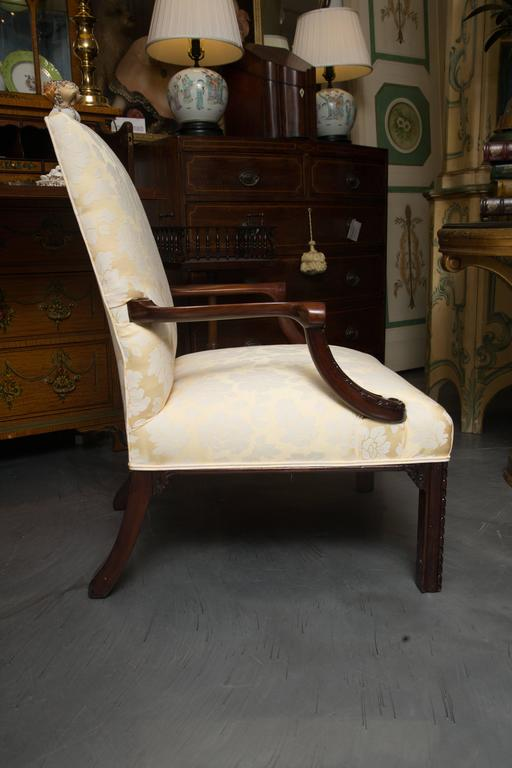 English Mahogany Upholstered Library Chairs In Good Condition For Sale In WEST PALM BEACH, FL