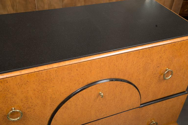 Biedermeier Style Chest with Black Granite Top In Good Condition For Sale In WEST PALM BEACH, FL
