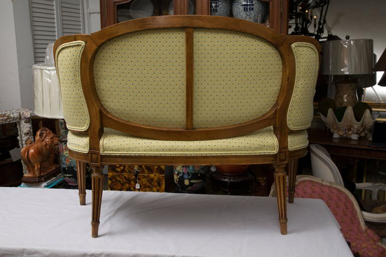 Stained Diminutive Louis XVI Style Upholstered Settee For Sale