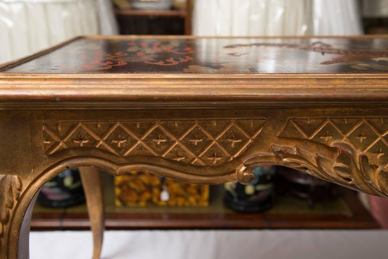 Hand-Carved Giltwood and Lacquered Coffee Table For Sale