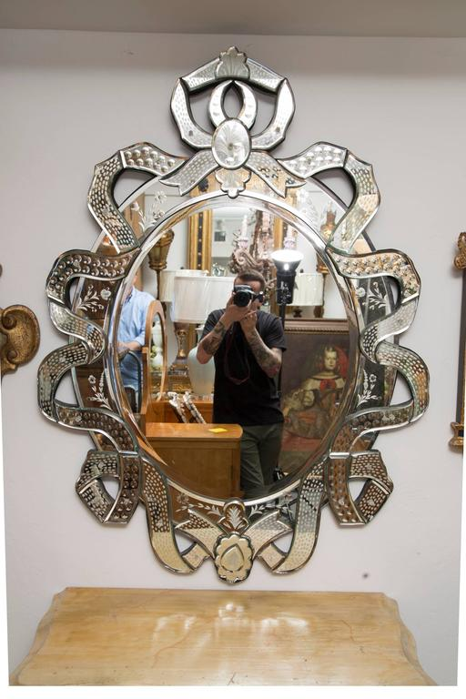 Venetian Etched Ribbon Design Wall Mirror For Sale 2