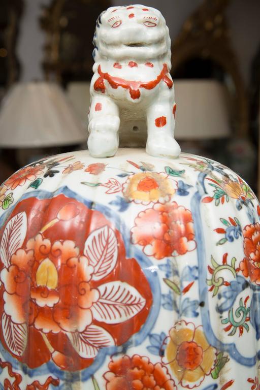 Pair of Chinese Palace Lidded Imari Urns 4