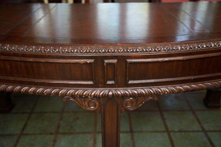 English Chippendale Style Mahogany Custom Bow Front Writing Table 2