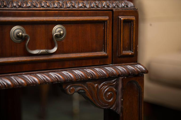 English Chippendale Style Mahogany Custom Bow Front Writing Table 3