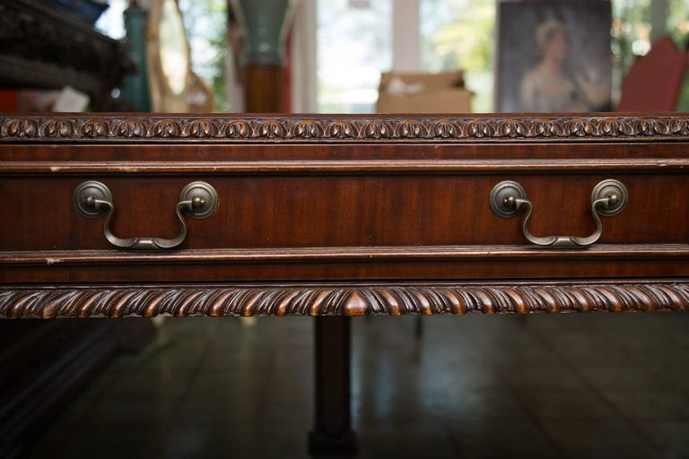 English Chippendale Style Mahogany Custom Bow Front Writing Table 4