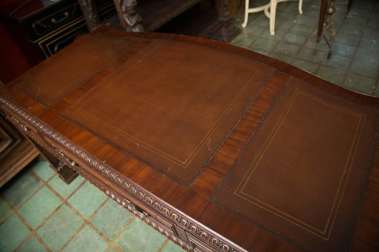 English Chippendale Style Mahogany Custom Bow Front Writing Table 5