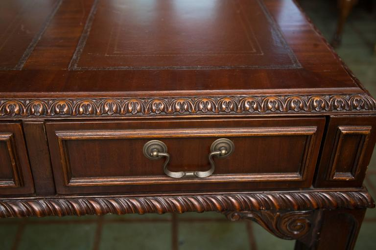English Chippendale Style Mahogany Custom Bow Front Writing Table 6