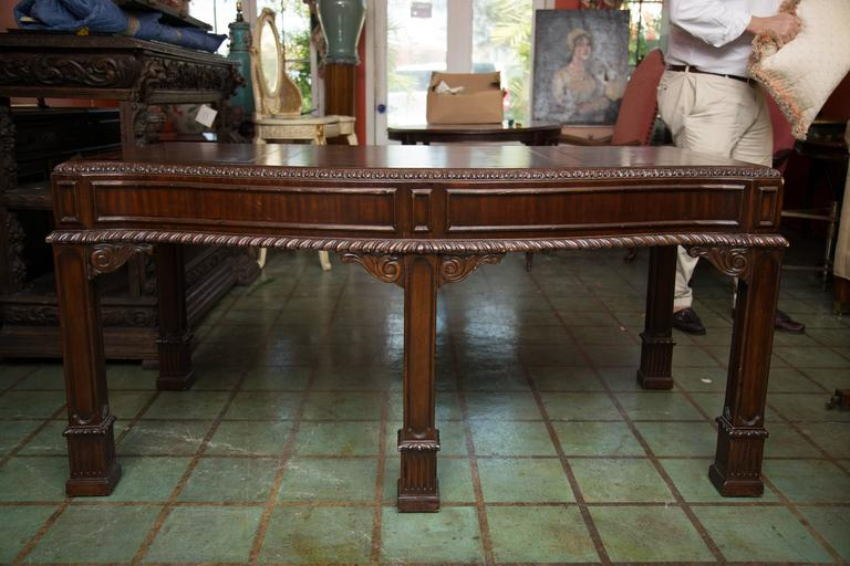 English Chippendale Style Mahogany Custom Bow Front Writing Table 8