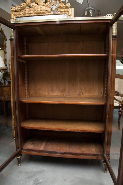Brass 19th Century, Louis XVI Style Mahogany Bookcase For Sale