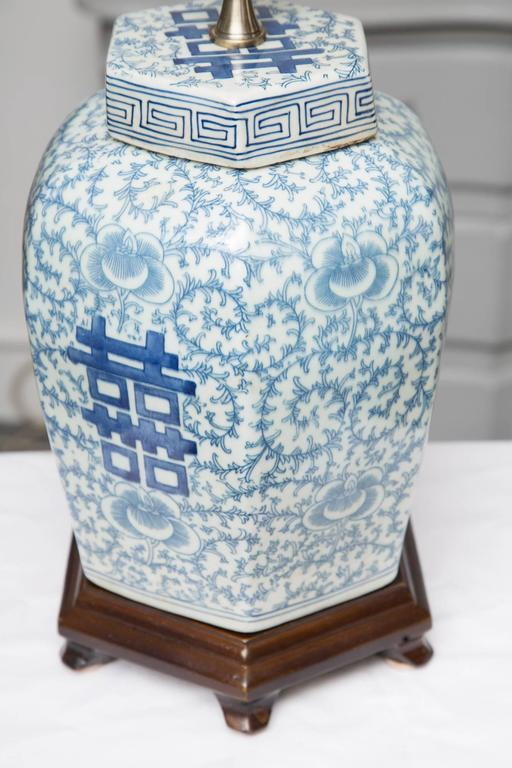 Pair of Hexagon Chinese Lidded Jars as Table Lamps 5