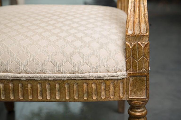 Pair of Stylized Louis XVI Gilt Armchairs 7