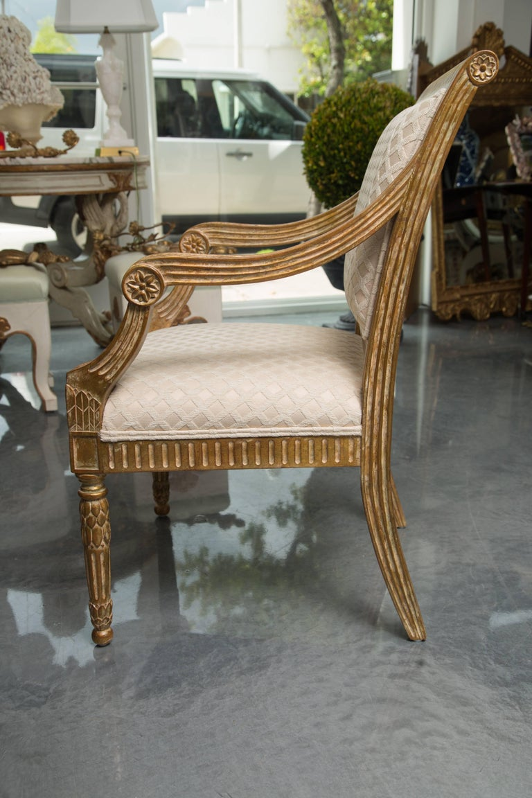 Pair of Stylized Louis XVI Gilt Armchairs For Sale 1