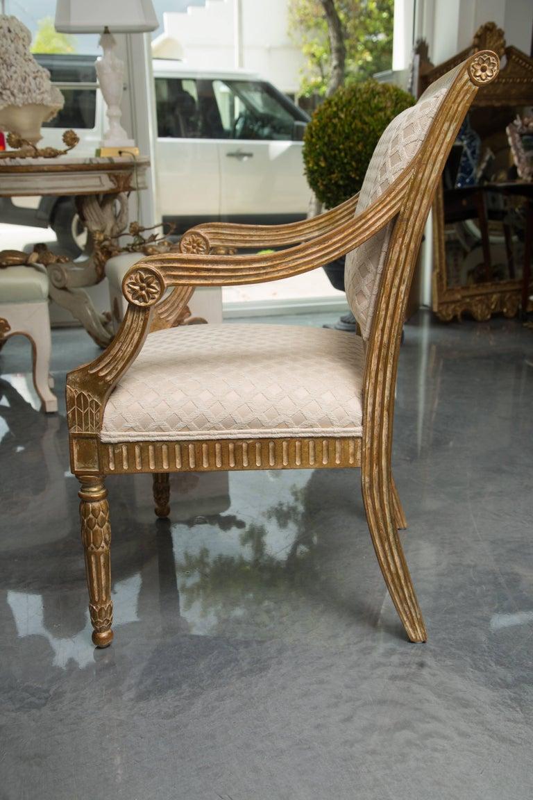 Pair of Stylized Louis XVI Gilt Armchairs 8