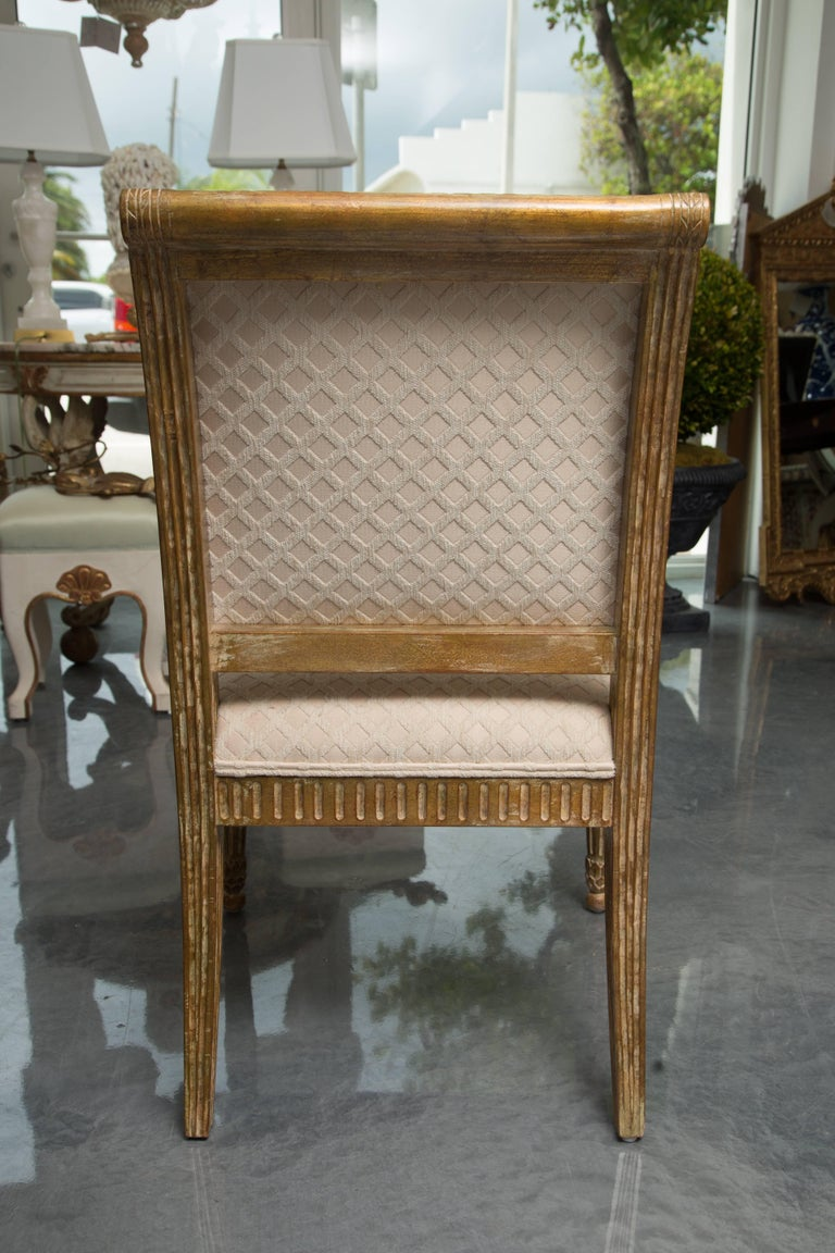 Pair of Stylized Louis XVI Gilt Armchairs For Sale 2