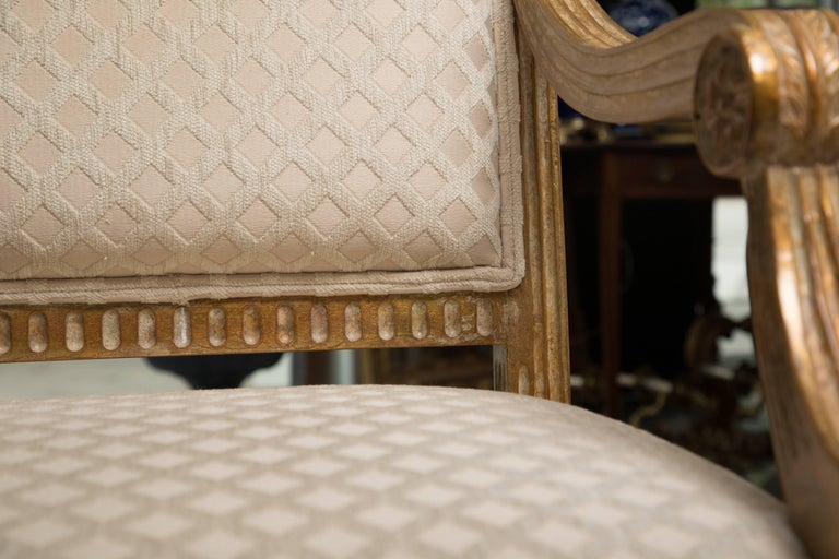 Pair of Stylized Louis XVI Gilt Armchairs 2