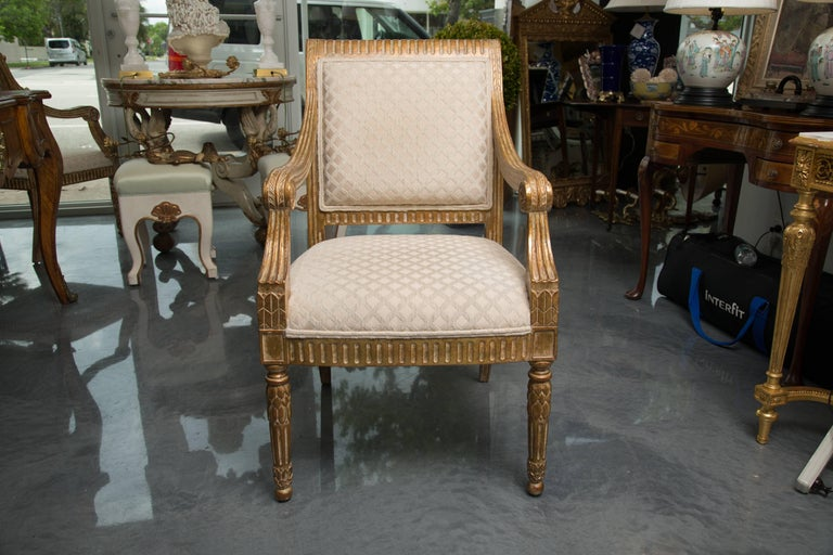 Pair of Stylized Louis XVI Gilt Armchairs For Sale 3