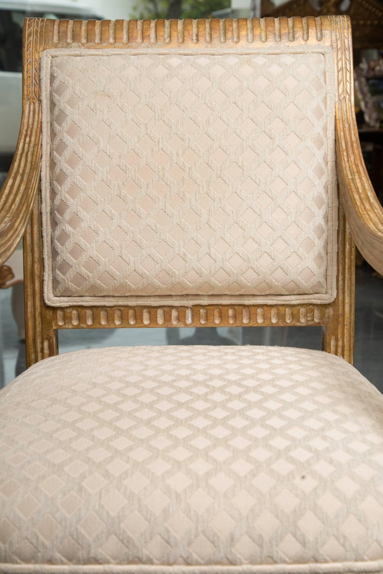 20th Century Pair of Stylized Louis XVI Gilt Armchairs For Sale