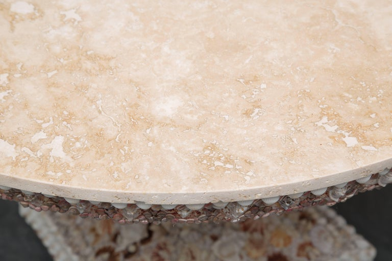 Hand-Crafted Shell Encrusted Center Table with Travertine Top For Sale