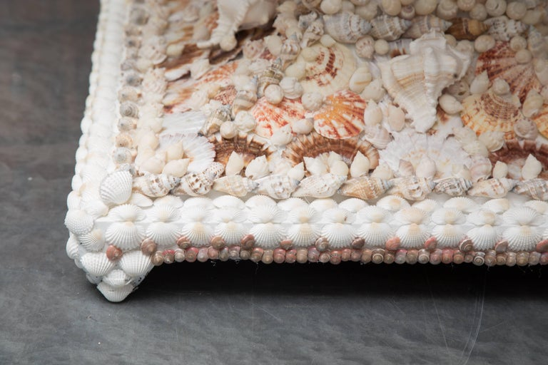 Shell Encrusted Center Table with Travertine Top In Good Condition For Sale In WEST PALM BEACH, FL