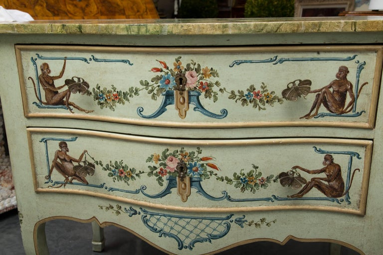 Wood Venetian Hand-Painted Serpentine Commode For Sale