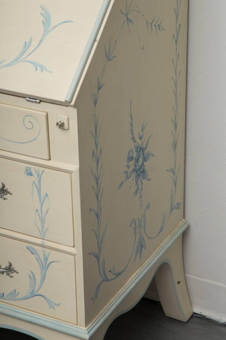 Gustavian Custom Hand-Painted Secretary Desk with Mirrored Doors For Sale