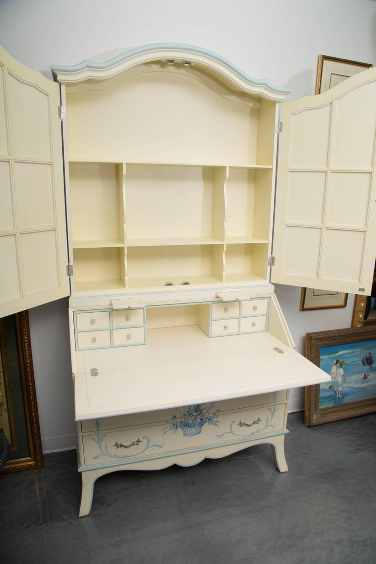 20th Century Custom Hand-Painted Secretary Desk with Mirrored Doors For Sale