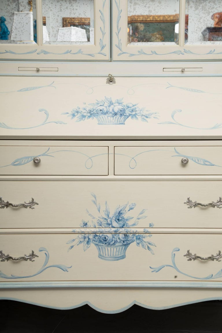 Custom Hand-Painted Secretary Desk with Mirrored Doors For Sale 1