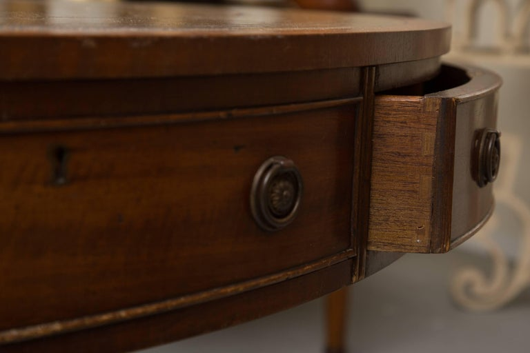 English Mahogany Drum Table with Leather Inset For Sale 3