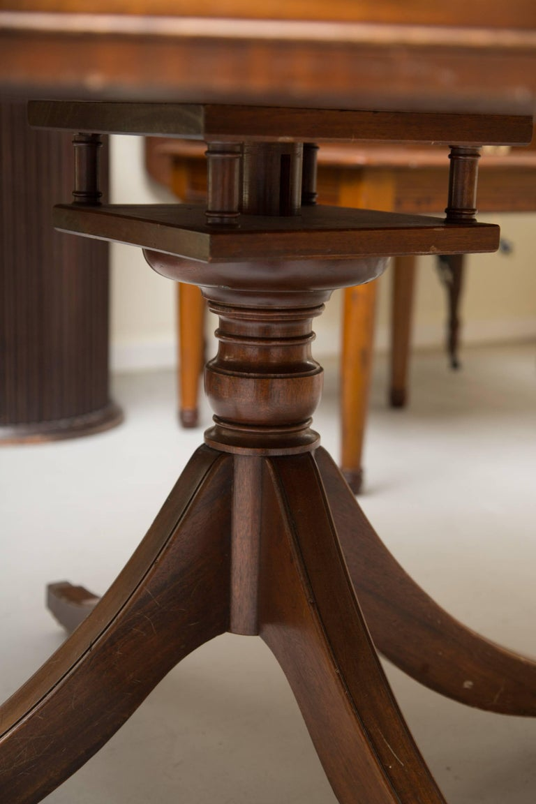 20th Century English Mahogany Drum Table with Leather Inset For Sale