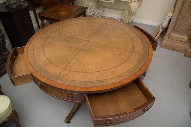 Georgian English Mahogany Drum Table with Leather Inset For Sale