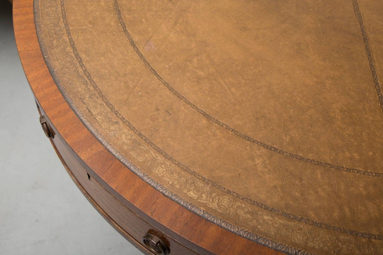 English Mahogany Drum Table with Leather Inset For Sale 4