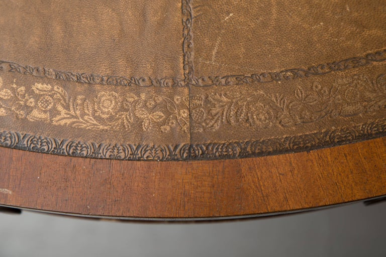 Embossed English Mahogany Drum Table with Leather Inset For Sale