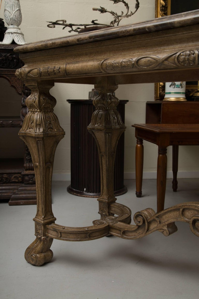 Baroque Italian Renaissance Style Console Table with Marble Top For Sale