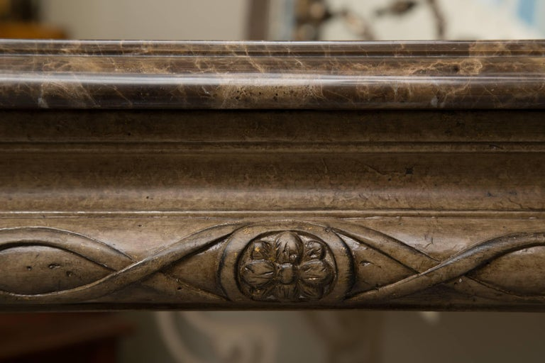 Italian Renaissance Style Console Table with Marble Top For Sale 1