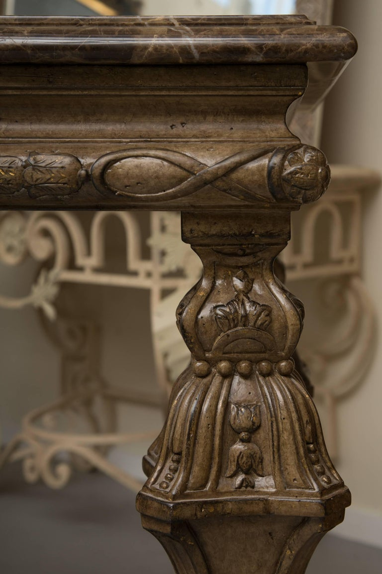 20th Century Italian Renaissance Style Console Table with Marble Top For Sale