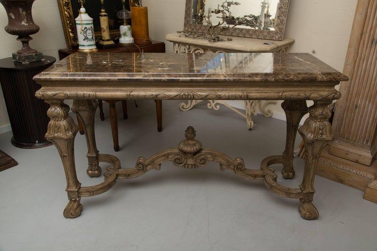 Italian Renaissance Style Console Table with Marble Top For Sale 2