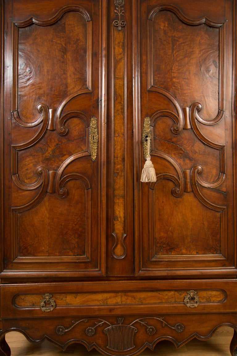 French 18th Century Figured Walnut Armoire For Sale 2