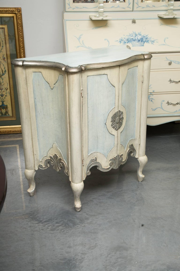 Pair of Serpentine Painted Venetian Cabinets For Sale 1