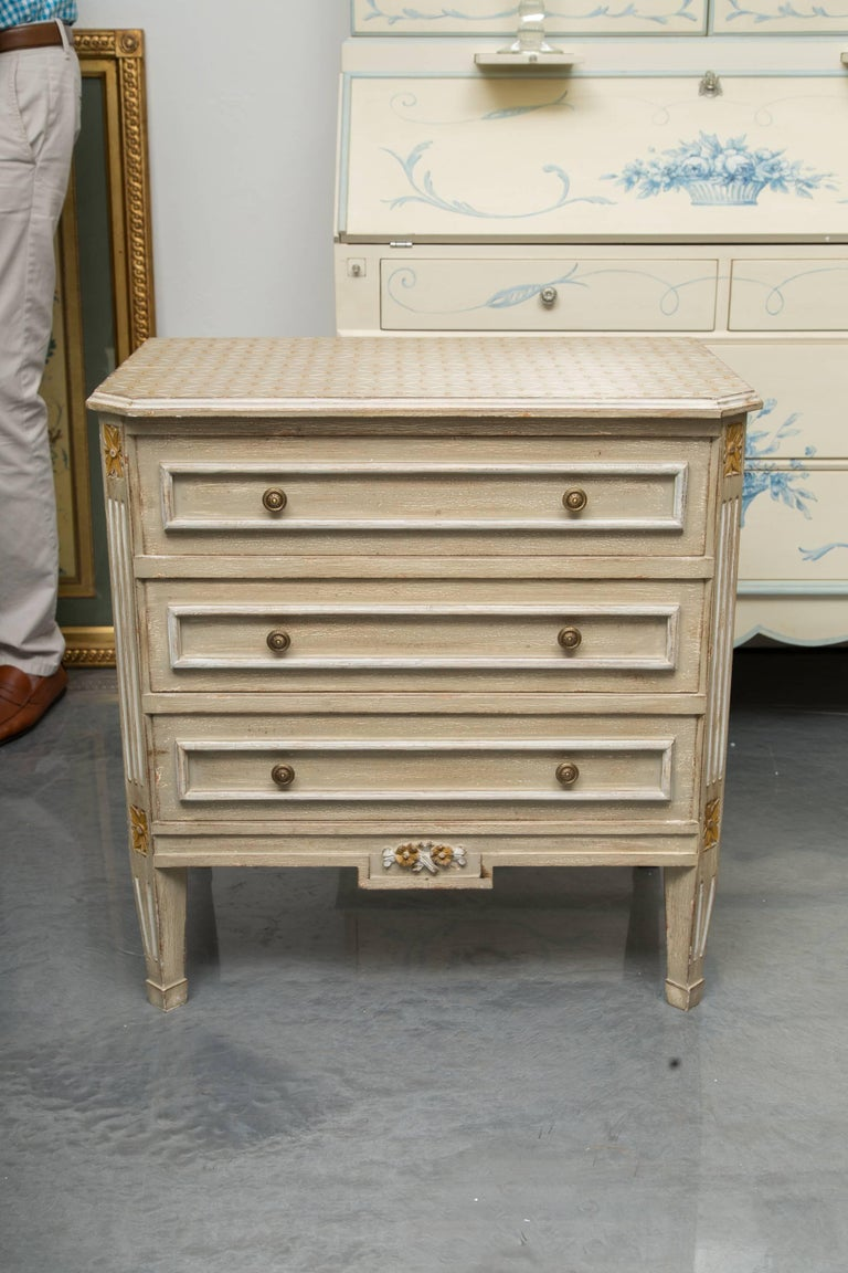 20th Century Pair of Louis XVI Style Decorative Painted Chests For Sale