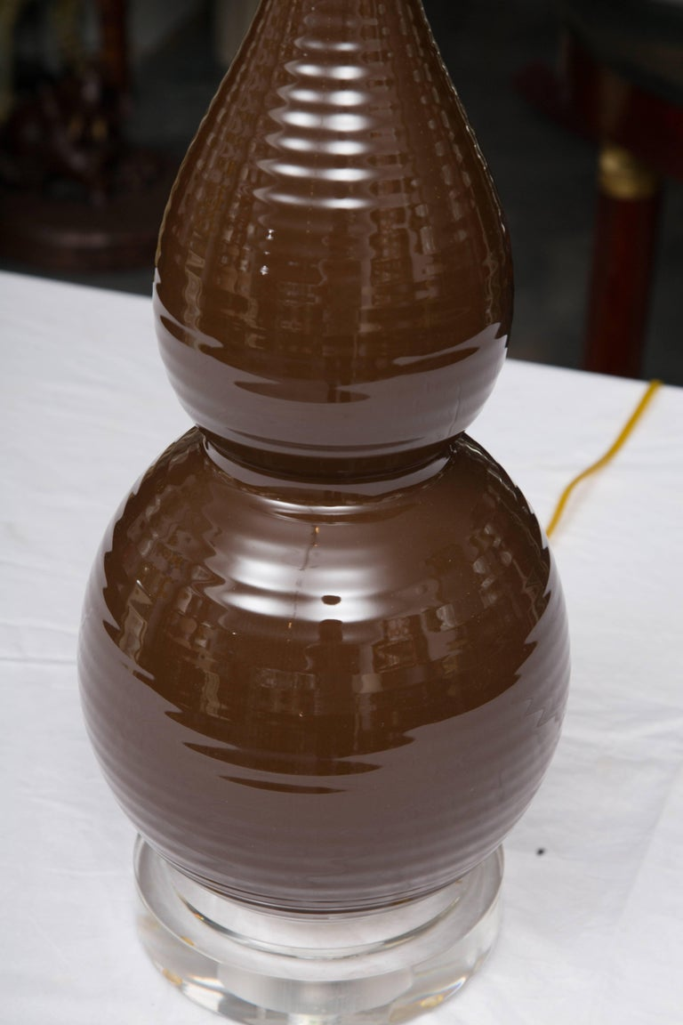 Glazed Pair of Chocolate Brown Double Gourd Table Lamps For Sale